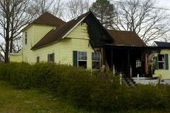 被烧的房子 库存图片