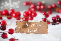 被烧的标签,雪, Bokeh,文本茹瓦约Noel意味圣诞快乐 免版税库存照片