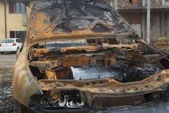 被烧的汽车的片段的图象 库存图片