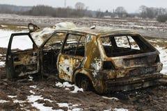 被烧的汽车,烧光车身,打破的车 图库摄影