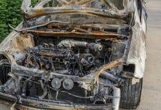 被烧的汽车 免版税库存图片