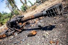 被烧的火炮枪,战争行动后果,乌克兰和Donbass冲突 库存图片