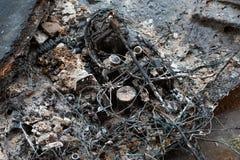 被烧的电子标志火危险 库存图片
