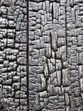 从被烧的被烧的木头修造 免版税库存图片