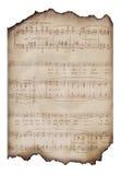 被烧的音乐纸张葡萄酒 库存图片