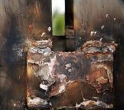 被焊接的钢盘区,太阳能电池 免版税库存照片