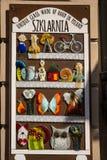 被熔化的玻璃显示在克拉科夫波兰 免版税图库摄影