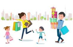 被爱的ones_Shopping的礼物与家庭 免版税库存照片