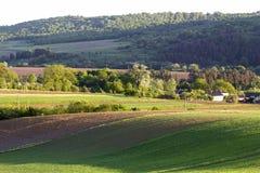 被犁的和绿色领域美丽宽全景用生长麦子在平安的村庄的清楚的明亮的蓝天下和遥远 库存照片