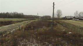被犁的领域鸟瞰图,秋天农场,冬天 股票录像