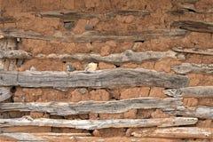 被猛撞的墙壁修建与地球和木板条 库存图片
