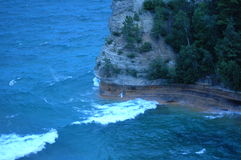 被生动描述的岩石国家公园波浪碰撞 免版税库存照片