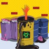 被画的桶biohazard 免版税库存照片