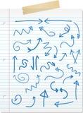 被画的箭头递被排行的纸张 皇族释放例证