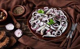 被盐溶的西鲱用了卤汁泡与在一块陶器板材的红洋葱圆环用橄榄、芫荽子在碗和黑麦切的面包 库存照片