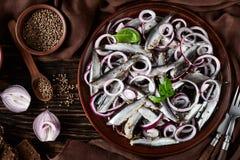 被盐溶的西鲱用了卤汁泡与在陶器板材的红洋葱圆环 芫荽子、棕色布料、叉子和刀子在老 图库摄影