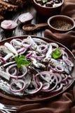 被盐溶的西鲱用了卤汁泡与在陶器板材芫荽子、棕色布料、叉子和刀子的红洋葱圆环在老 免版税库存图片