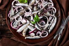 被盐溶的西鲱用了卤汁泡与在陶器板材芫荽子、棕色布料、叉子和刀子的红洋葱圆环在老 图库摄影