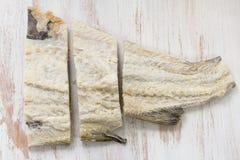 被盐溶的鳕鱼 库存图片