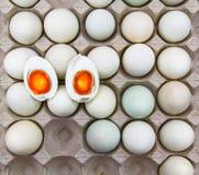 被盐溶的鸡蛋切成了两半 免版税库存图片