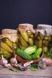 被盐溶的黄瓜 香料和草本做的腌汁在木背景 土气窗框 库存照片