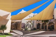 被盖的街道在卡塔拉文化村庄在多哈,卡塔尔 免版税图库摄影