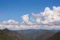 被砍伐山林的看法 免版税库存照片
