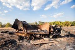 被破坏的军用卡车,战争行动后果,乌克兰和Donbass冲突 库存照片