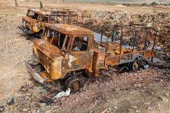 被破坏的军用卡车,战争行动后果,乌克兰和Donbass冲突 图库摄影