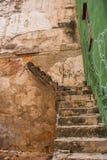 被破坏的房子的墙壁和台阶是残破的 哈瓦那 古巴 免版税库存图片