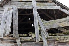 被破坏的房子,特写镜头 库存图片