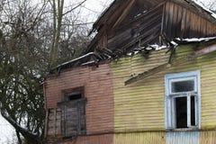 被破坏的房子,特写镜头 免版税图库摄影