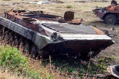 被破坏的步兵作战车辆,战争行动后果,乌克兰和Donbass冲突 库存照片