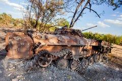 被破坏的步兵战斗用车辆,战争行动后果,乌克兰和Donbass冲突 免版税图库摄影
