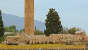 被破坏的Olympieion在希腊首都雅典的中心,古庙保持 股票录像