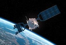 被碰撞的卫星轨道的地球 3d场面 库存图片
