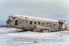 被碰撞的海军DC-3在冰岛 免版税图库摄影