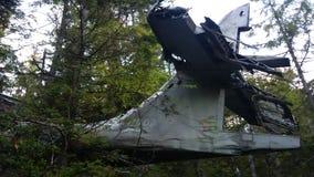 被碰撞的轰炸机尾巴在森林里 免版税图库摄影