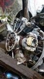 被碰撞的轰炸机引擎  免版税库存照片