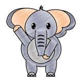 被磨碎的可爱的大象野生动物用手 向量例证