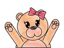 被磨碎的可爱的母熊动物用手 库存例证