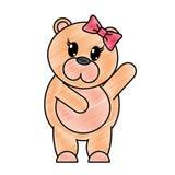 被磨碎的可爱的母熊动物用手 向量例证