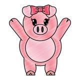 被磨碎的可爱的母猪动物用手 库存例证