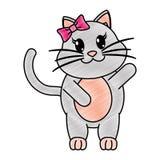被磨碎的可爱的母猫动物用手 向量例证