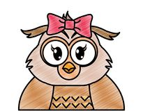 被磨碎的可爱的母猫头鹰逗人喜爱的动物 库存例证
