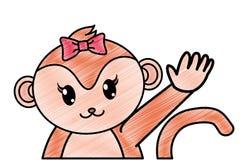 被磨碎的可爱的母猴子动物用手 皇族释放例证