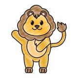 被磨碎的可爱的狮子野生动物用手 皇族释放例证