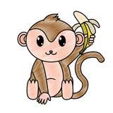 被磨碎的可爱的猴子野生动物用香蕉在手上 皇族释放例证