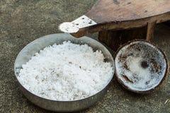 被磨碎的椰子 免版税库存图片
