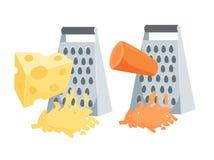 被磨碎的红萝卜和乳酪 库存例证